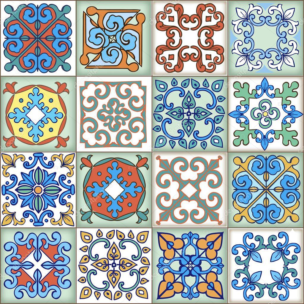 Patr n de patchwork sin costura colecci n de azulejos - Telas marroquies ...