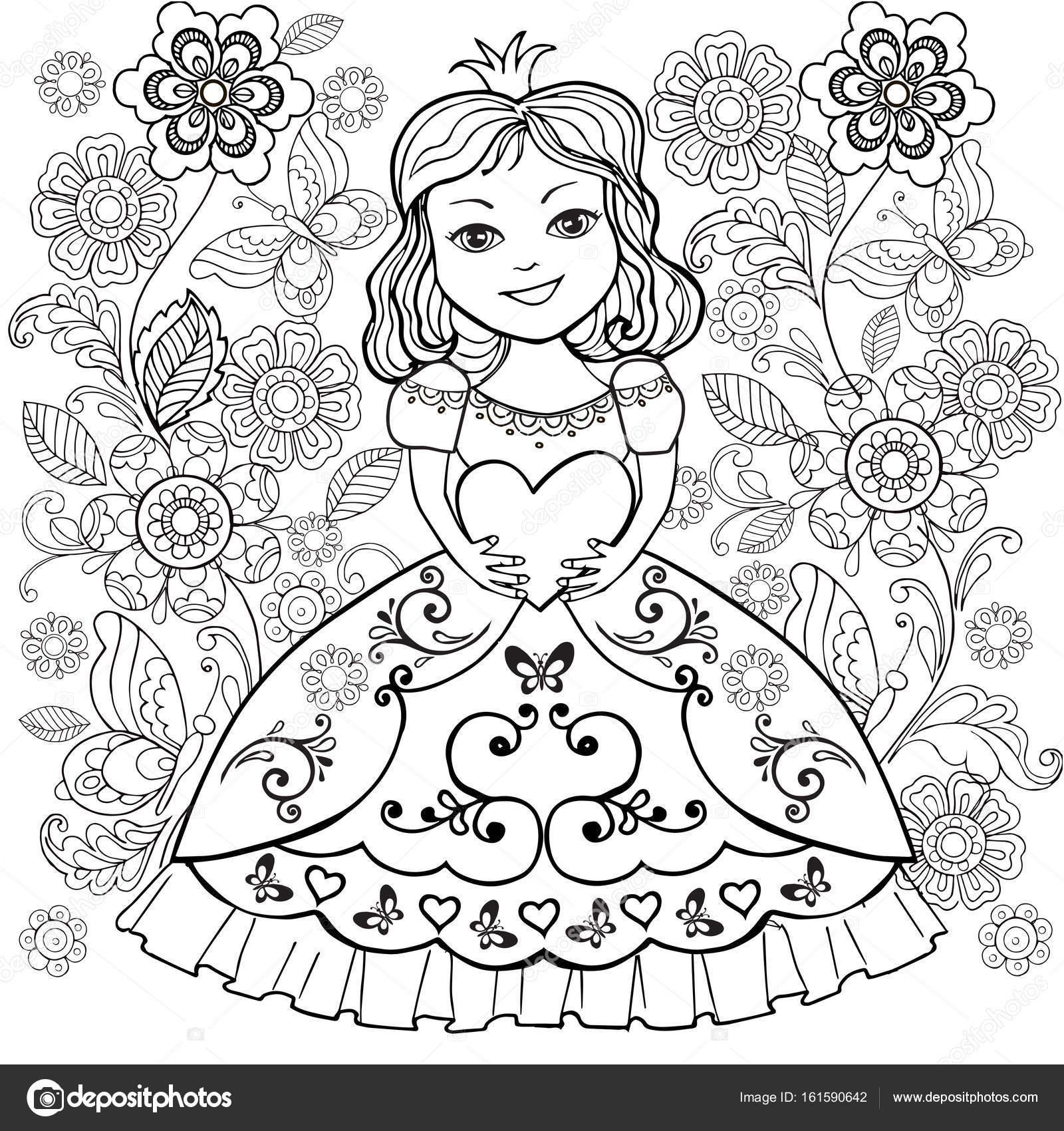 kleurboek met kleine princesa hart in zijn handen het
