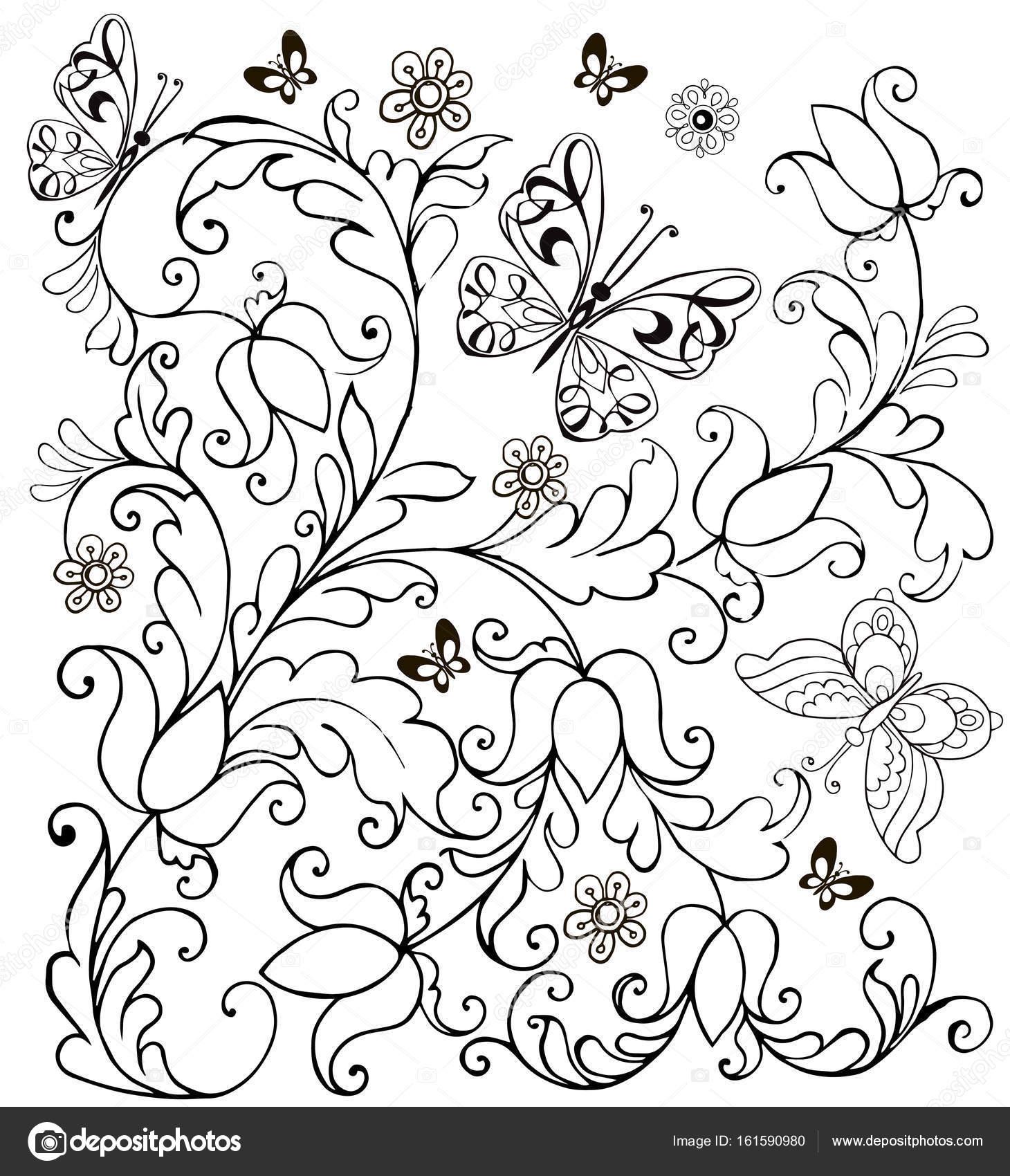 getekend bloemen en vlinders voor de anti stress