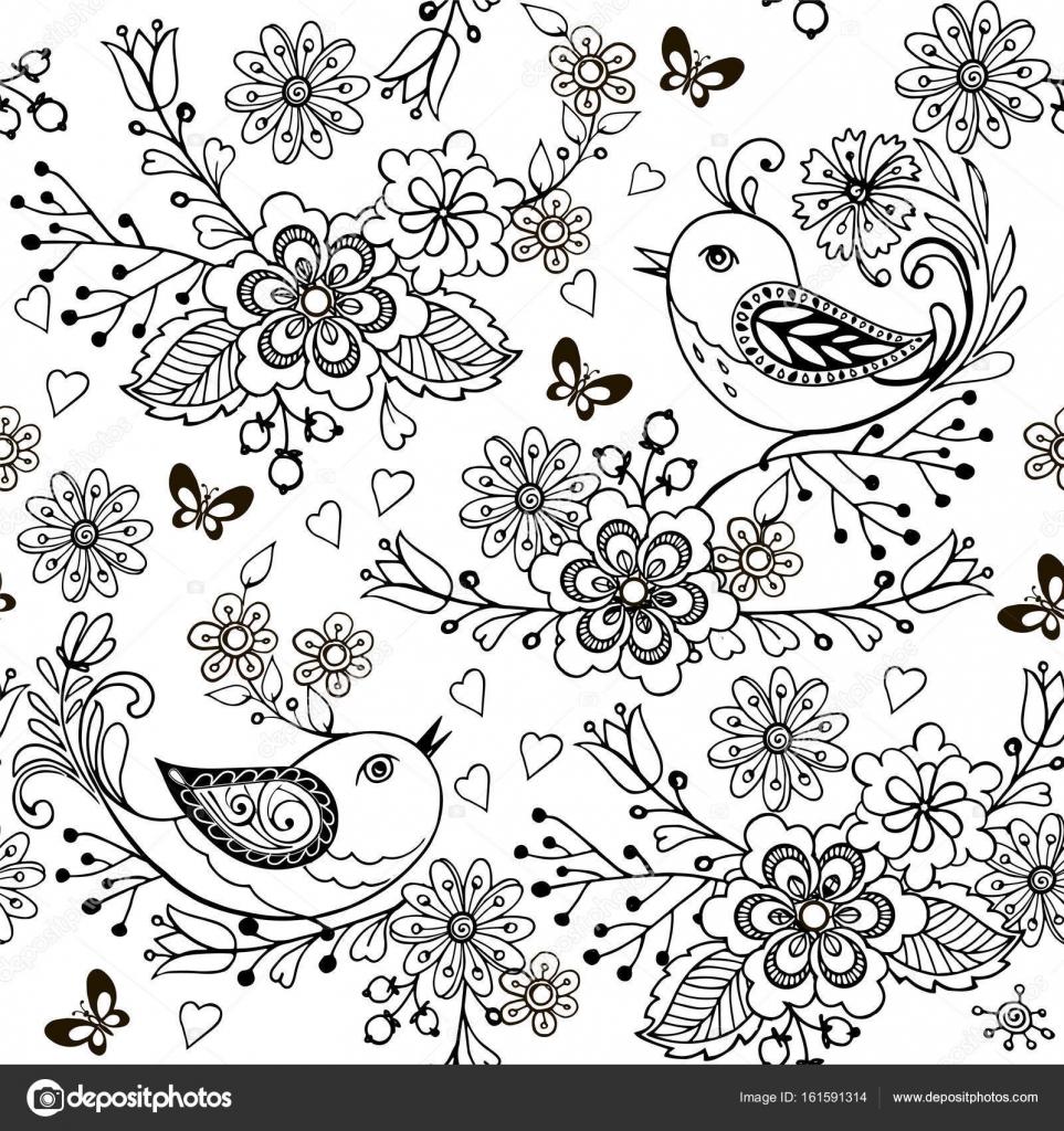 Mano dibuja flores y aves para el anti estrés página para colorear ...