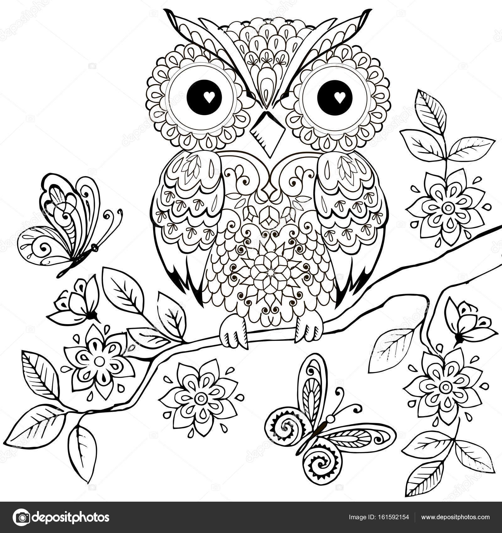 Buho decorativo sobre una rama de flores para colorear libro para ...