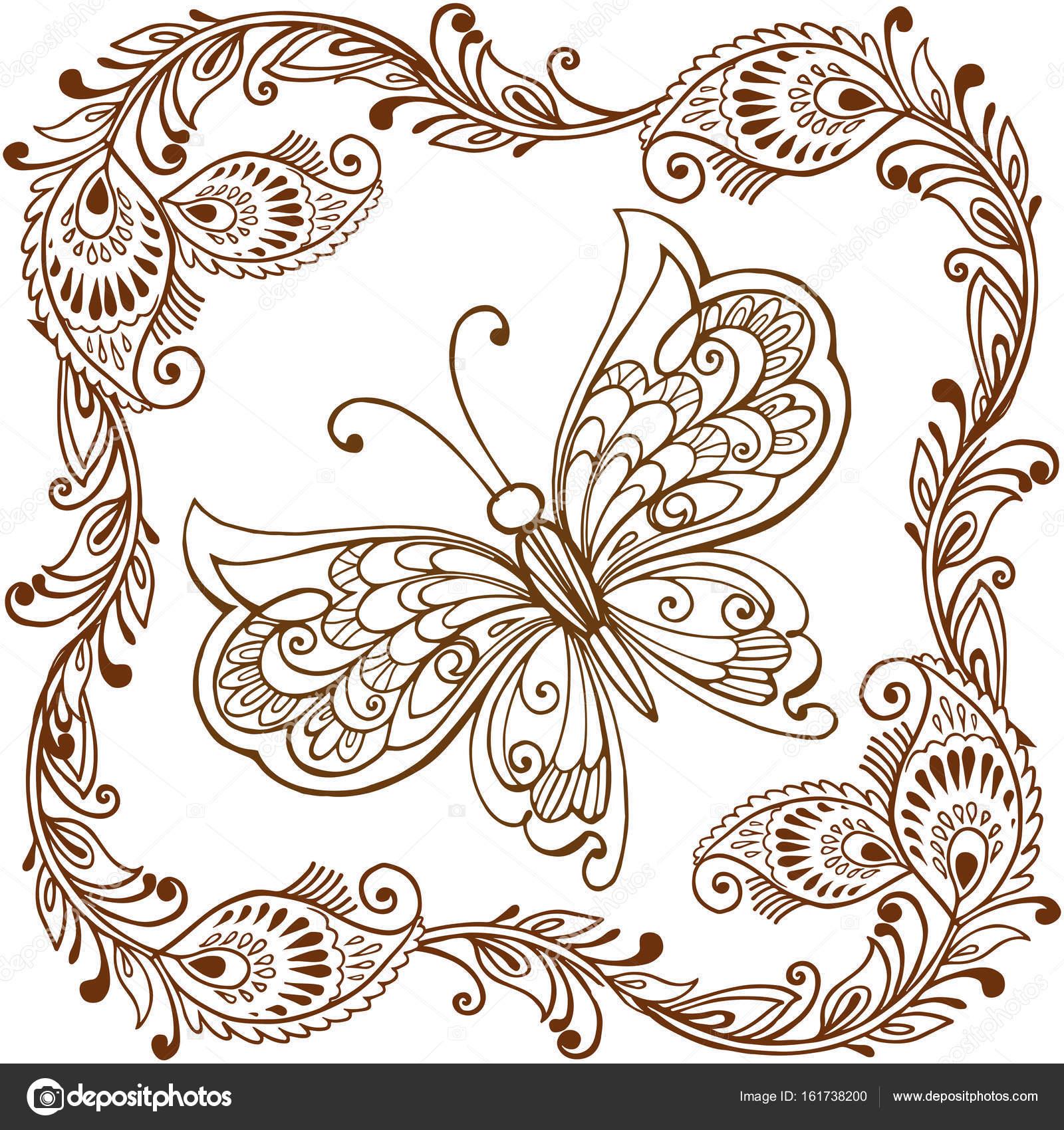 Mariposa decorativa con adorno paisley indio. Mariposa decorativa ...