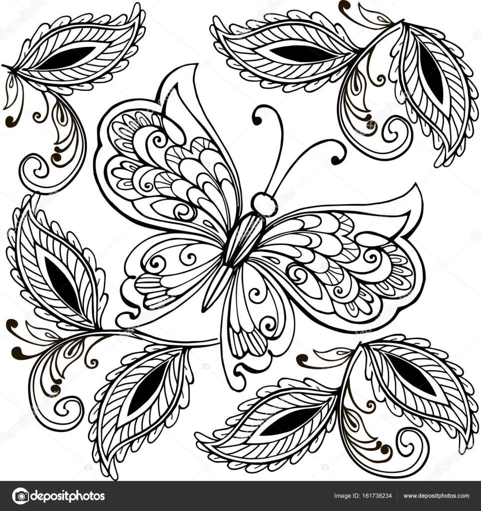 De la mano mariposa dibujada y el adulto de hojas decorativas anti ...