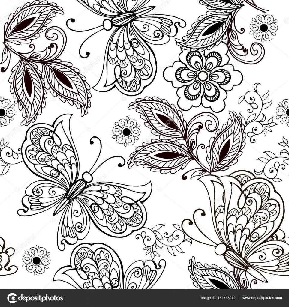 Mano dibuja flores y mariposas para el anti estrés página para ...
