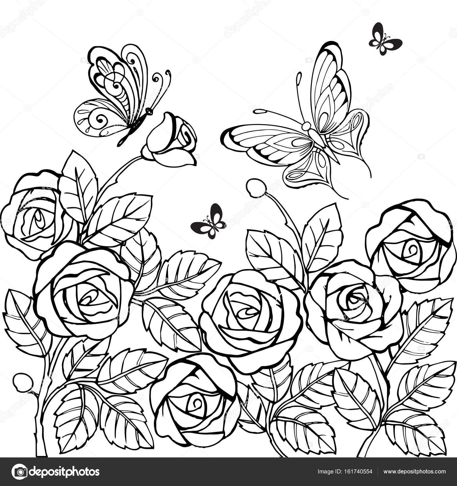 Adorno de flores vintage de rosas con mariposas para anti Stresa ...