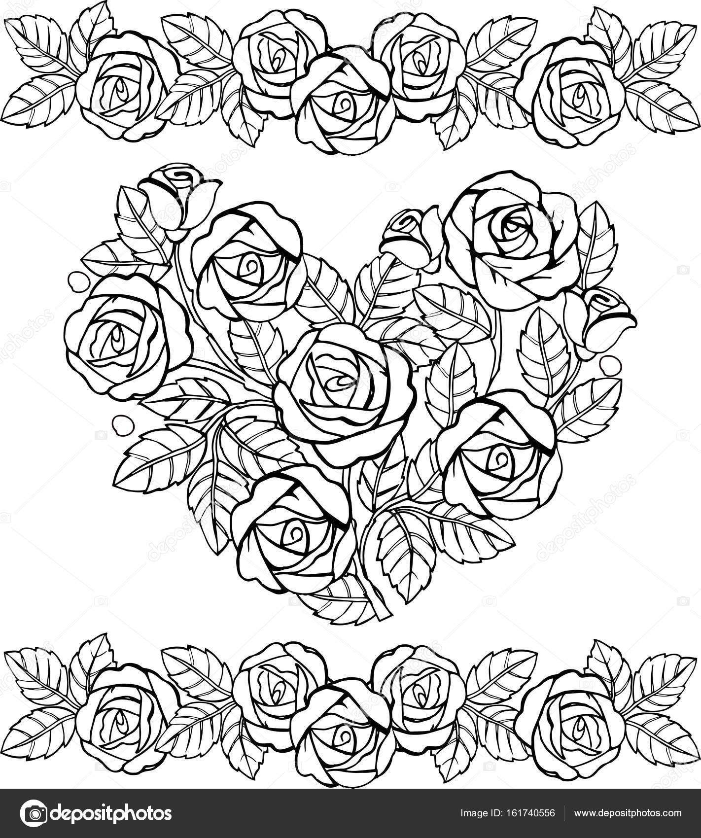 Handgemalte florale Herz Monochrom. Herz der Rosen für den Anti ...
