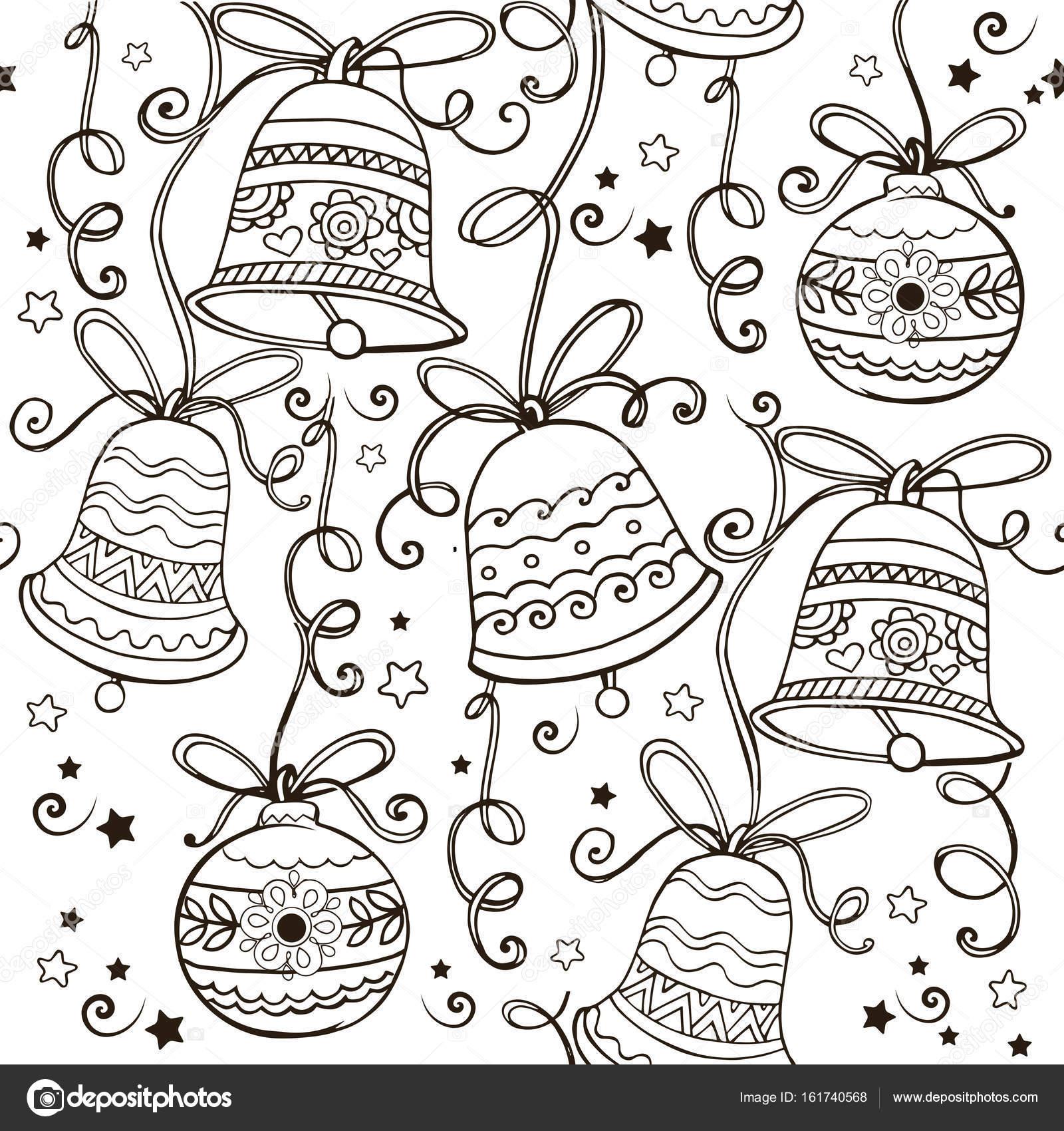 Handgezeichnete Ornament mit Weihnachtsglocken für den Anti Stress ...