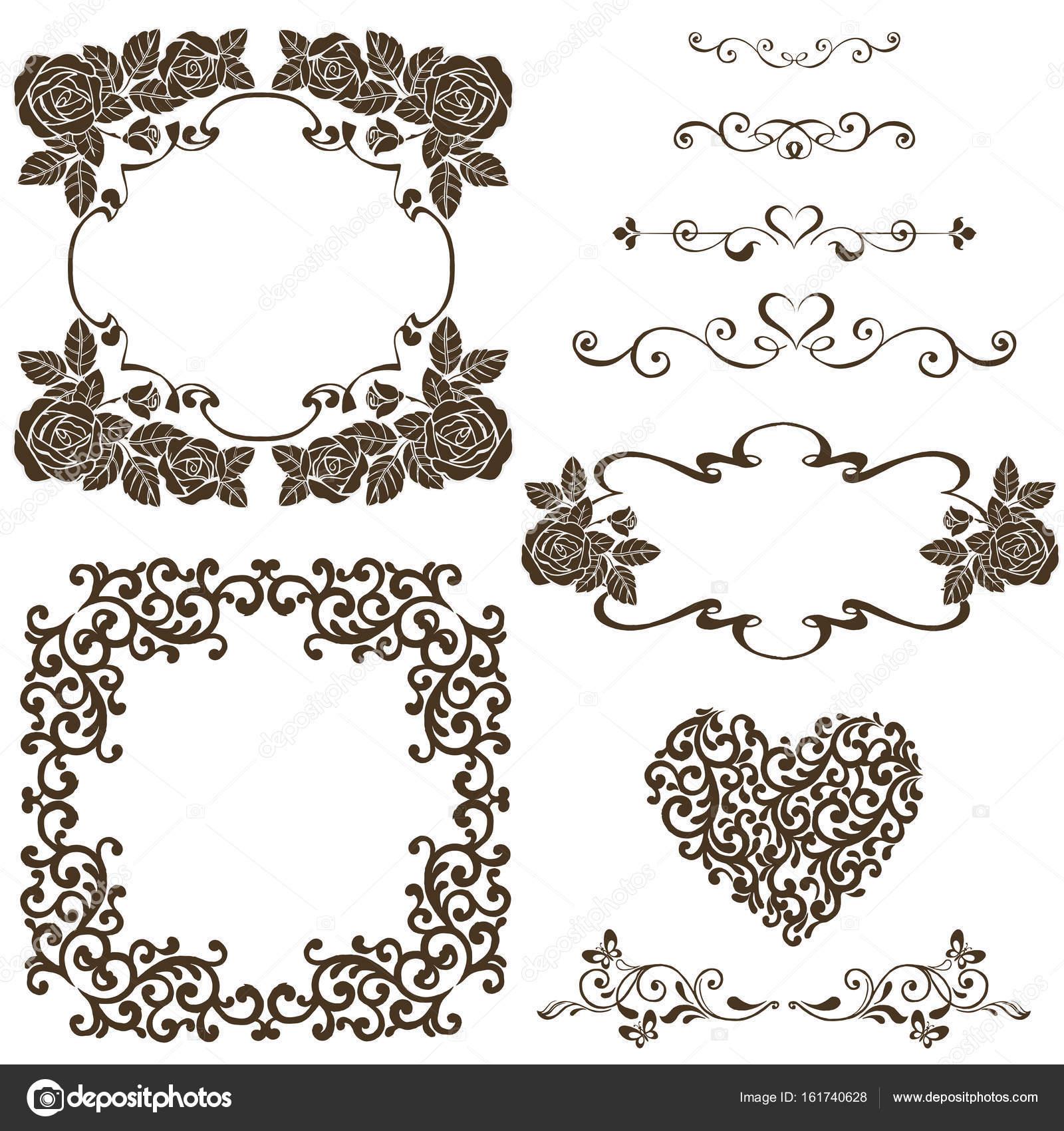 Conjunto de diseño del vector elementos, marco Vintage con rosas ...