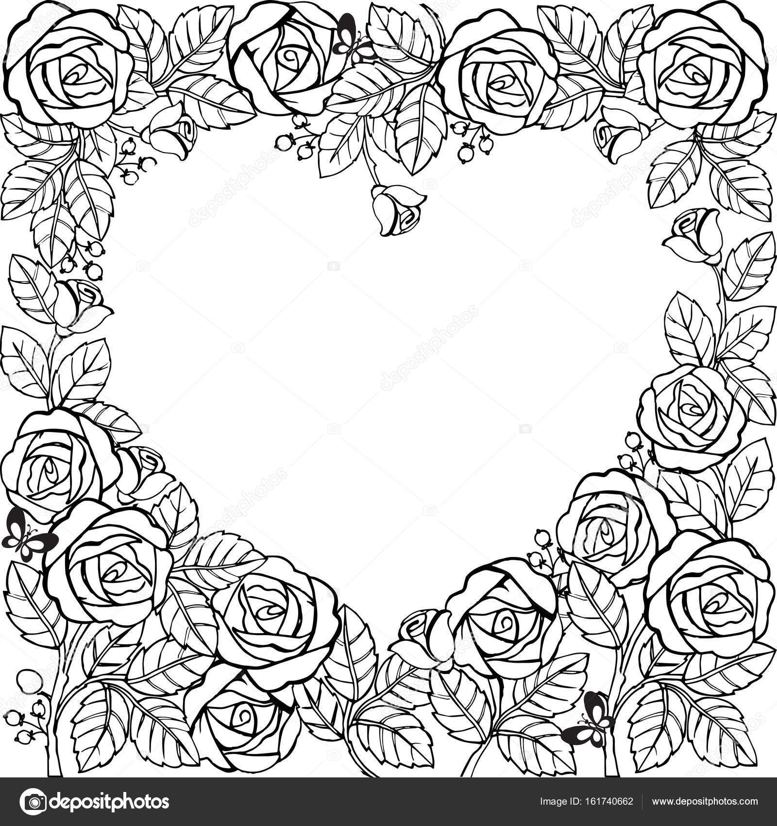 Marco de flores con rosas y corazón. Marco de flores para colorear