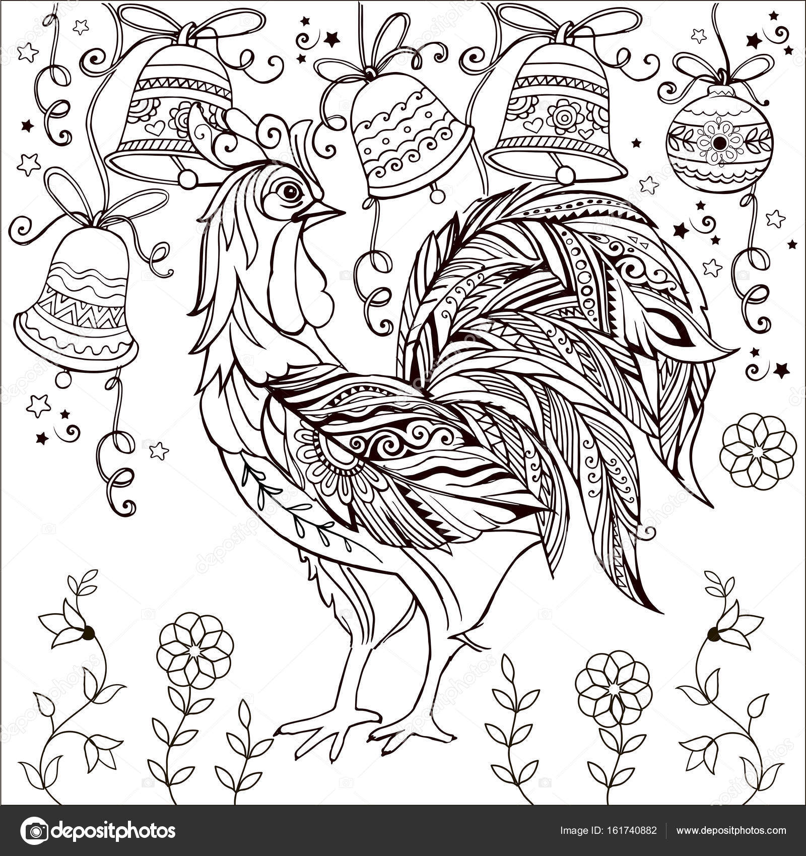 Dekoratif Horoz Tek Renkli Boyama Sayfası Neşeli Noel çan Stok