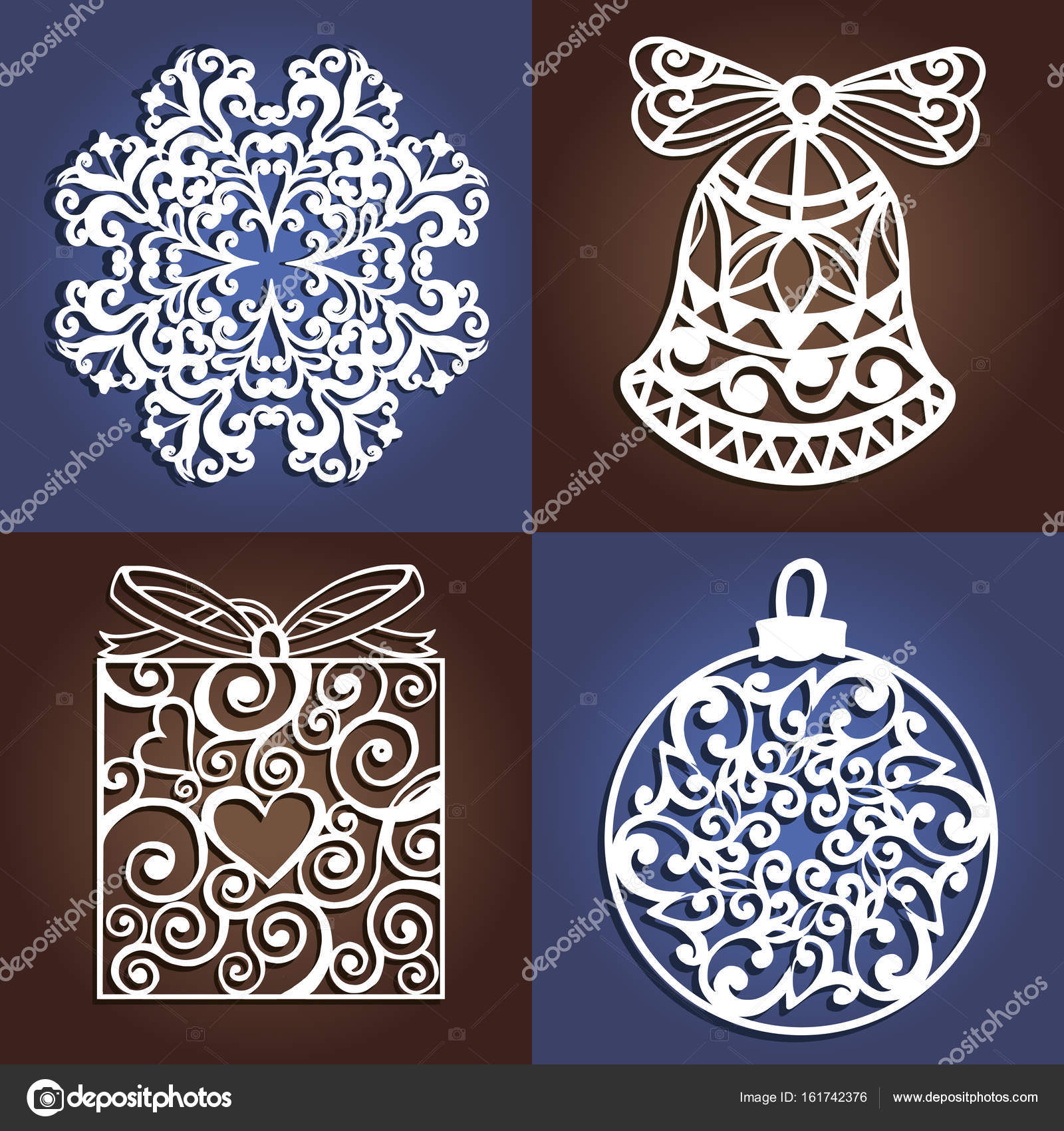 set of openwork christmas decorations laser cutting template christmas gift for wood carving paper cutting and christmas decorations vector by yeresko
