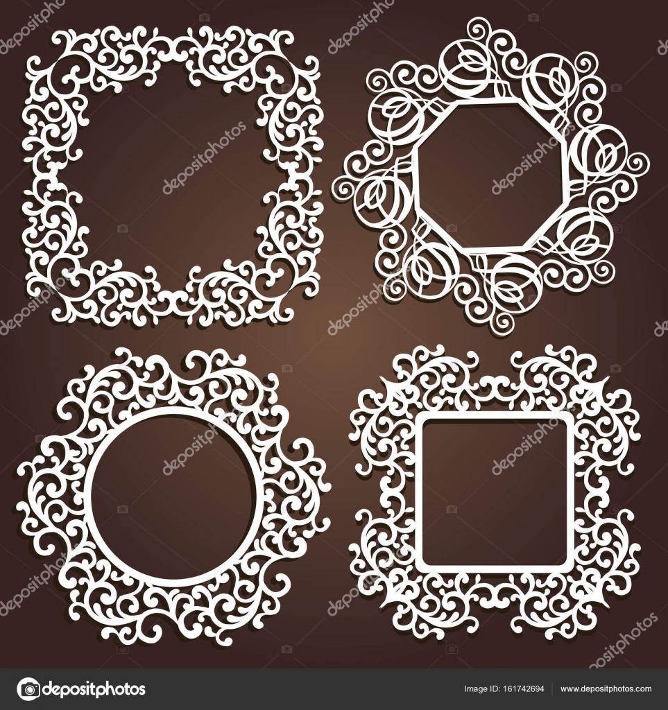 Laser cut vector Decorative frame. Photo frame with lace for paper ...