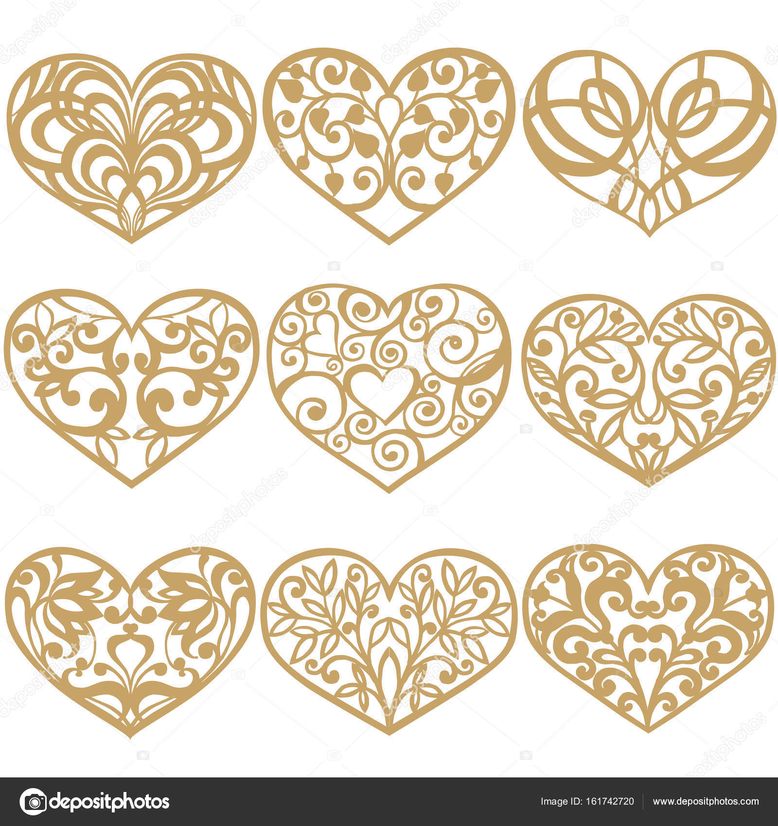 Heart Templates | Set Of Laser Cut Hearts Collection Of Decorative Gold Hearts