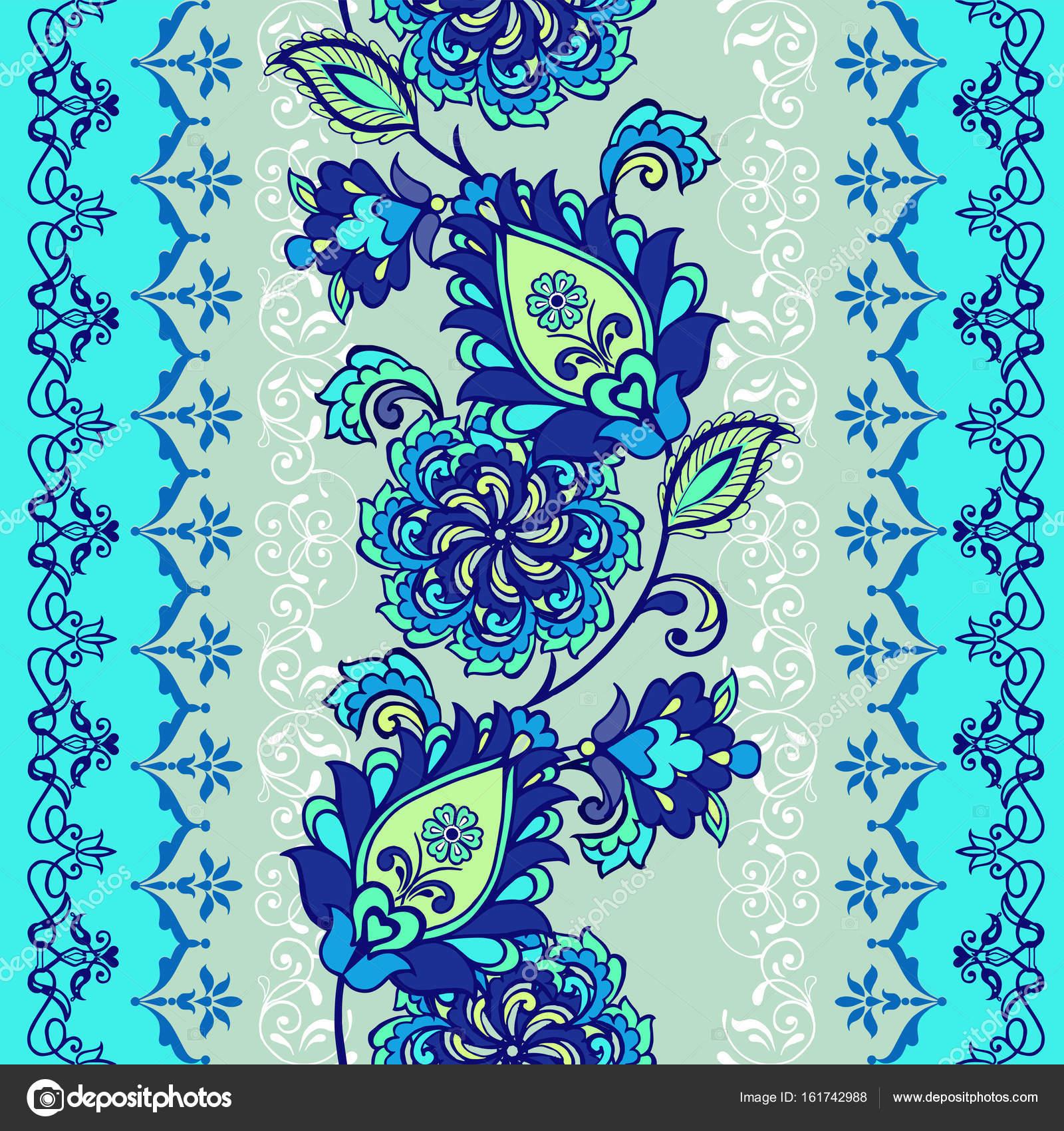 Streifenmuster mit fantastischen Blumen blau-Färbung. Bordüre ...