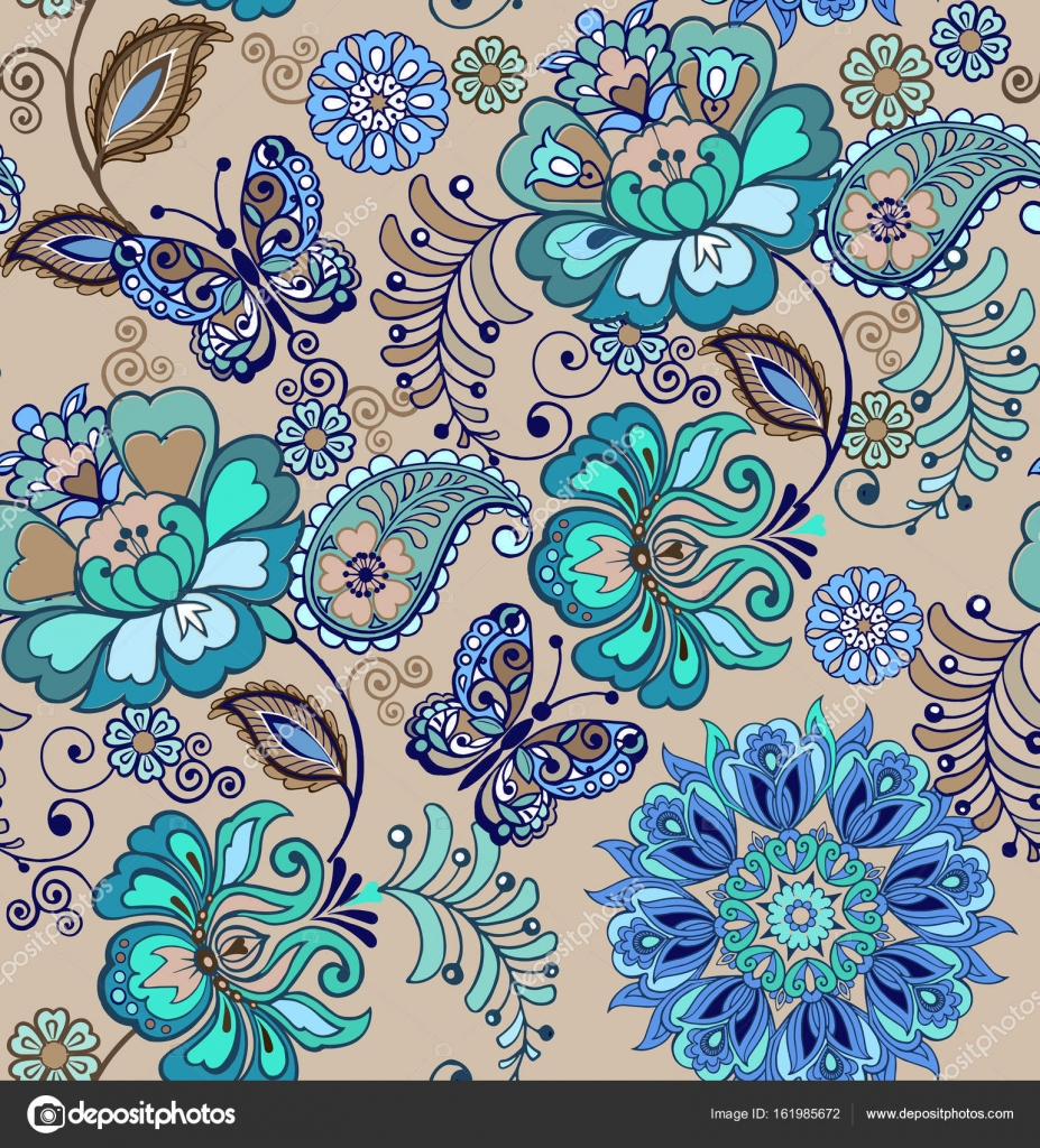 Fondo flores vintage azules fant stico ornamento floral - Fotos decorativas ...