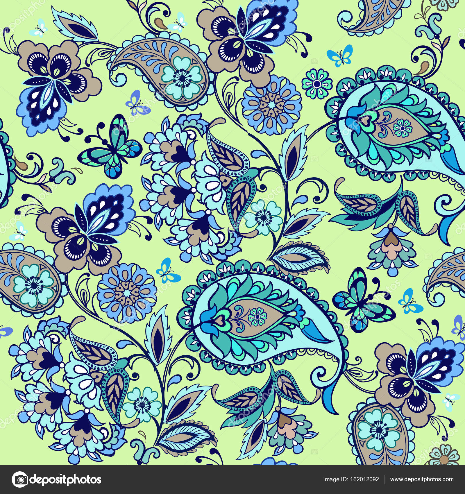 Oriental Turquoise Seamless Paisley Pattern Floral Wallpaper