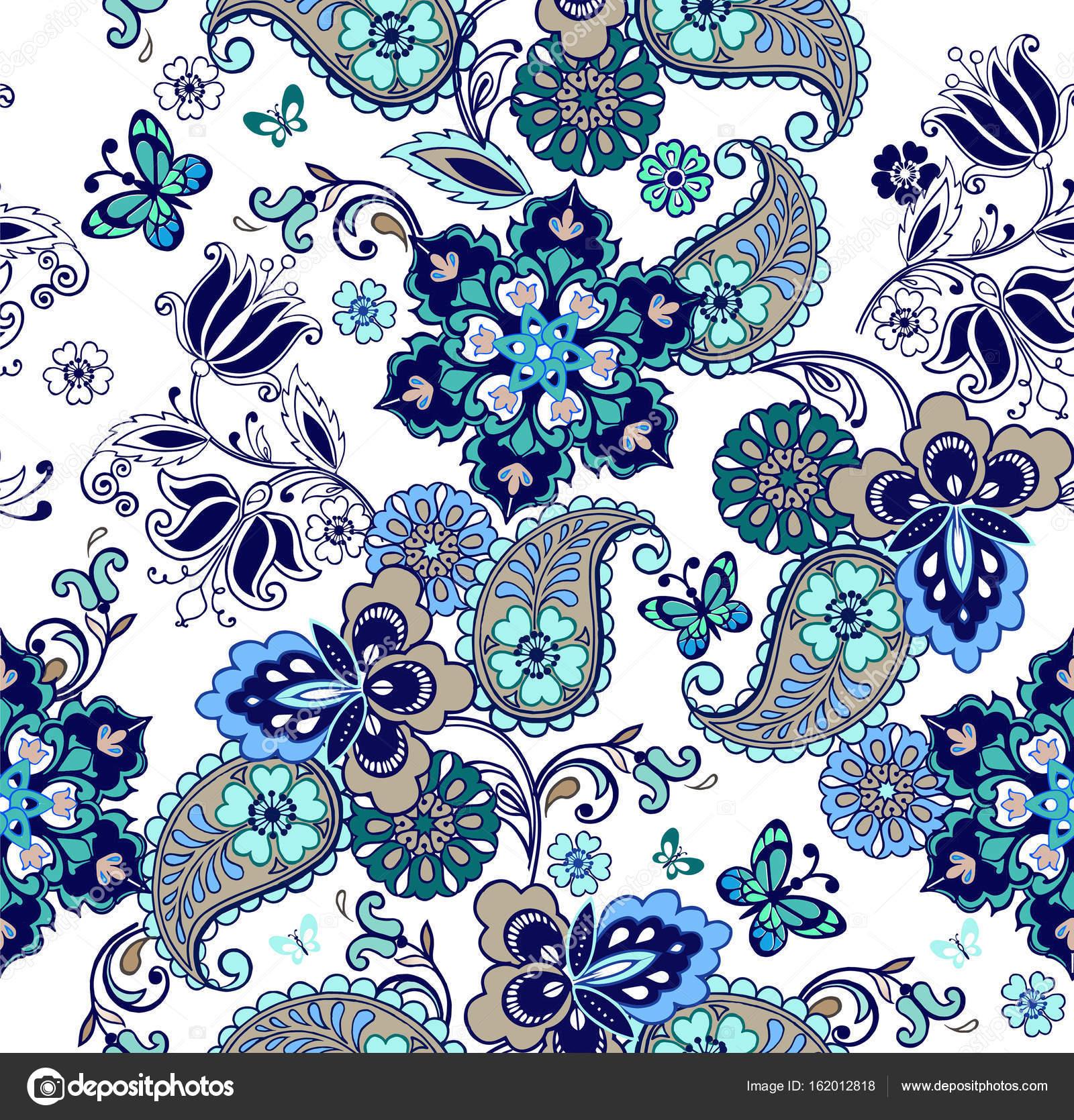 Oriental Seamless Paisley Pattern Floral Wallpaper Decorative