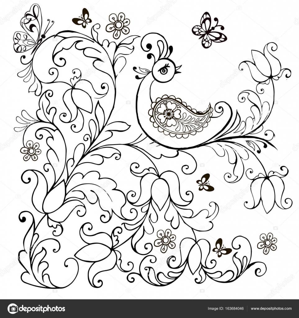 Hand Getekend Fantastische Vogel Voor De Anti Stress Kleurplaat