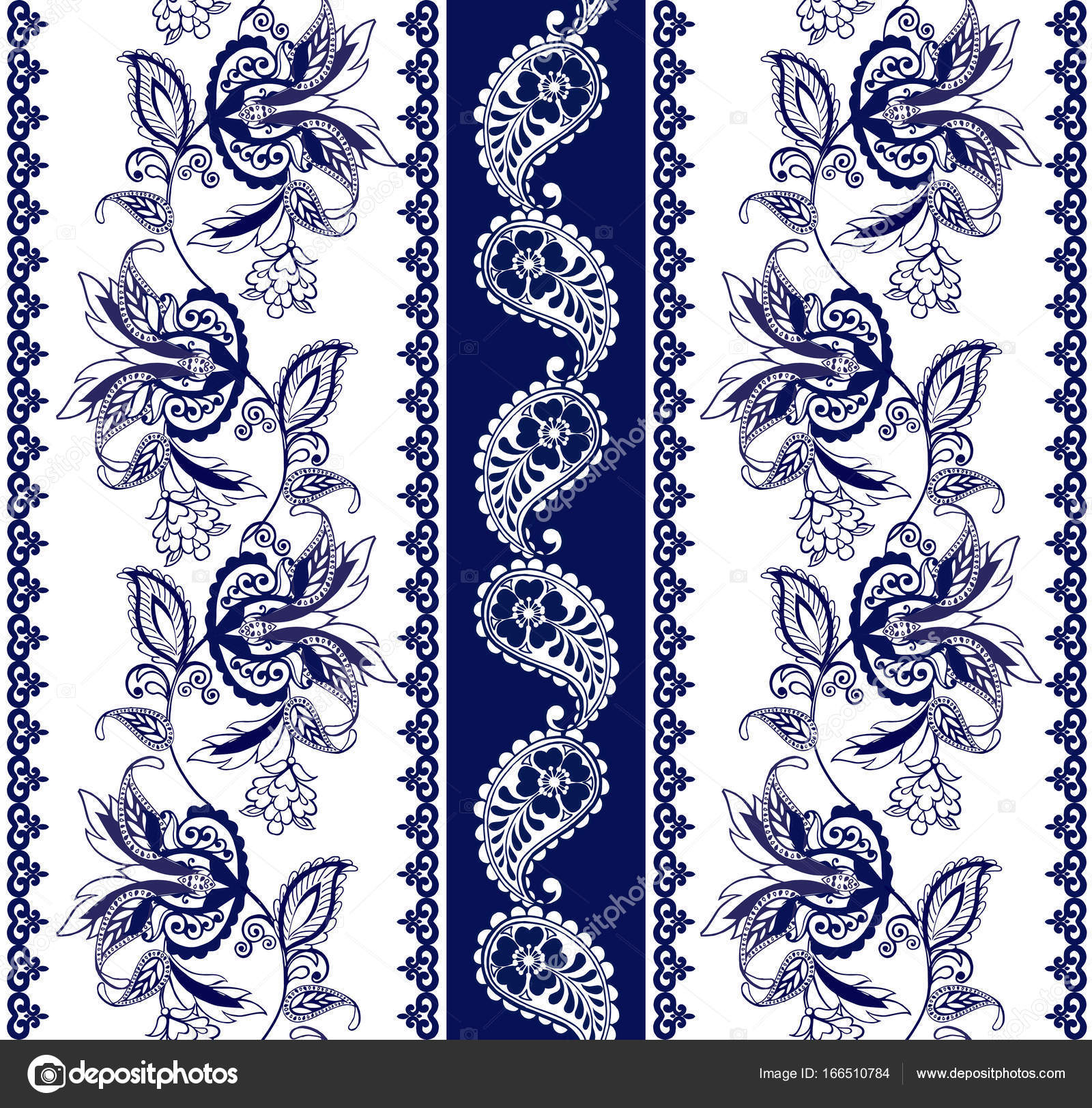 Set Of Lace Bohemian Seamless Borders Stripes With Blue Floral
