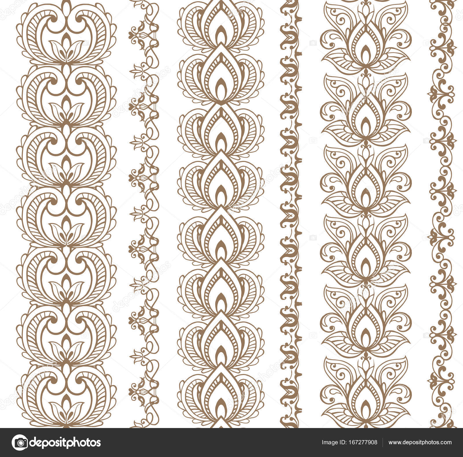 Traditional Indian Style Interior Design: Set Of Seamless Borders. Traditional Indian Style