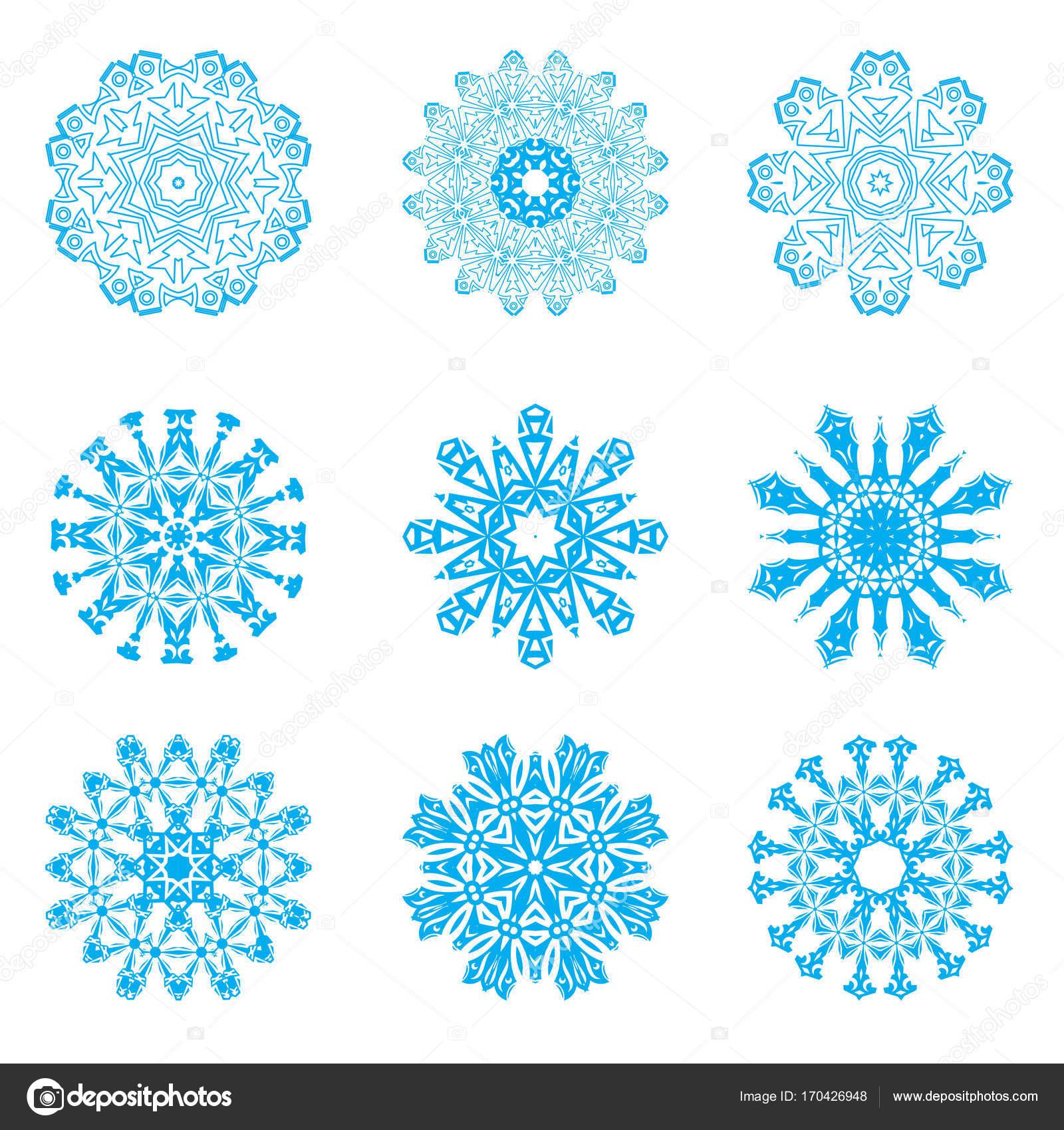 Colección grande de los copos de nieve vectoriales en el cielo ...