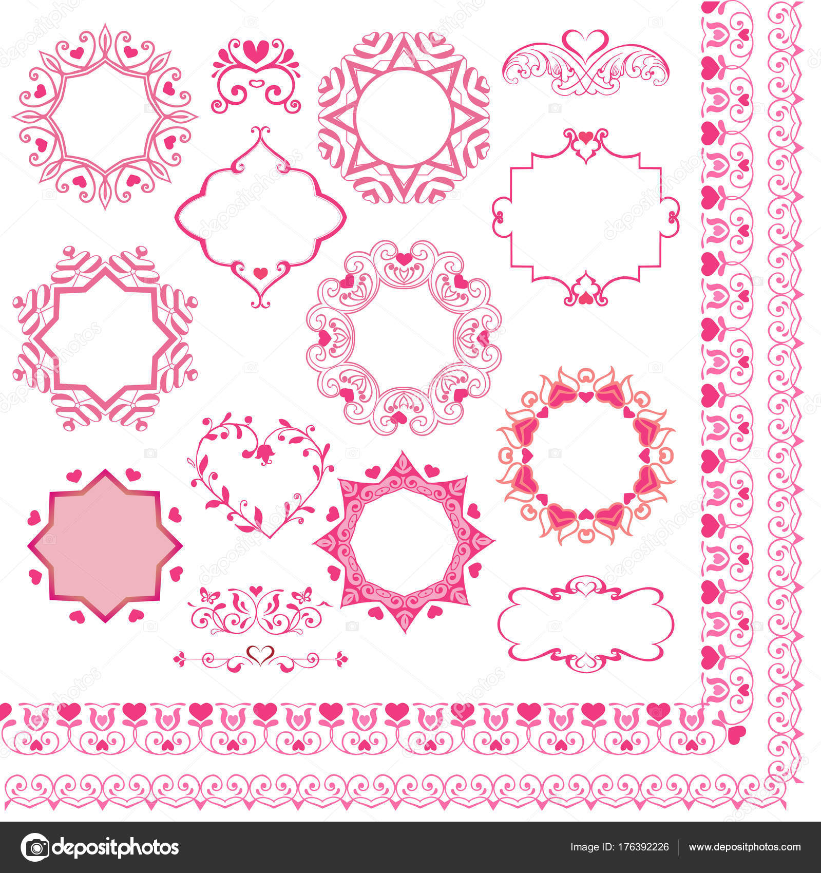 Set of pink borders and frames with hearts. Vintage design elements ...