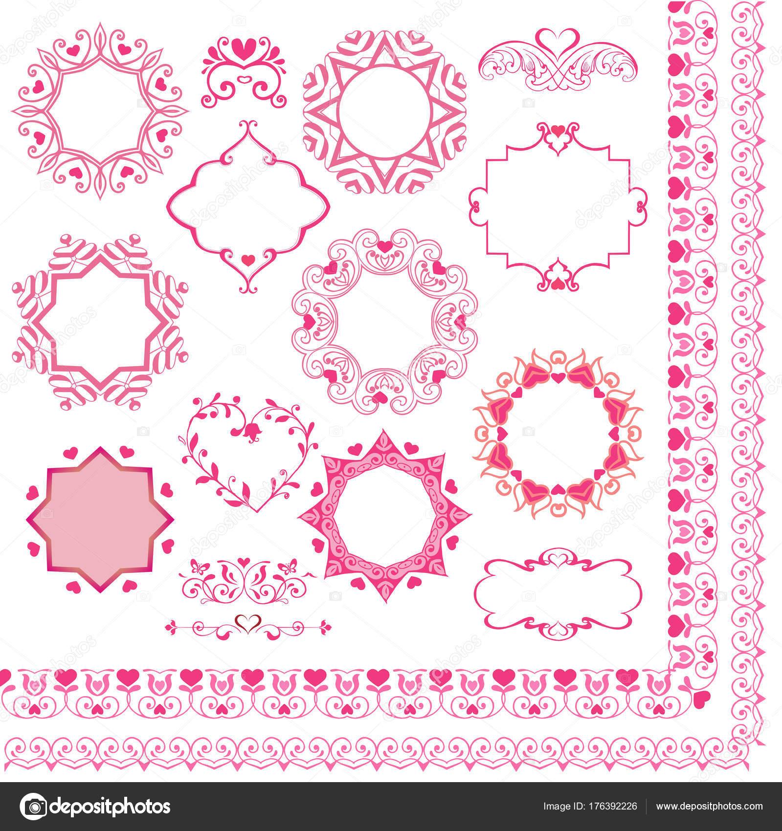 Conjunto de bordes rosa y marcos con corazones. Elementos de diseño ...
