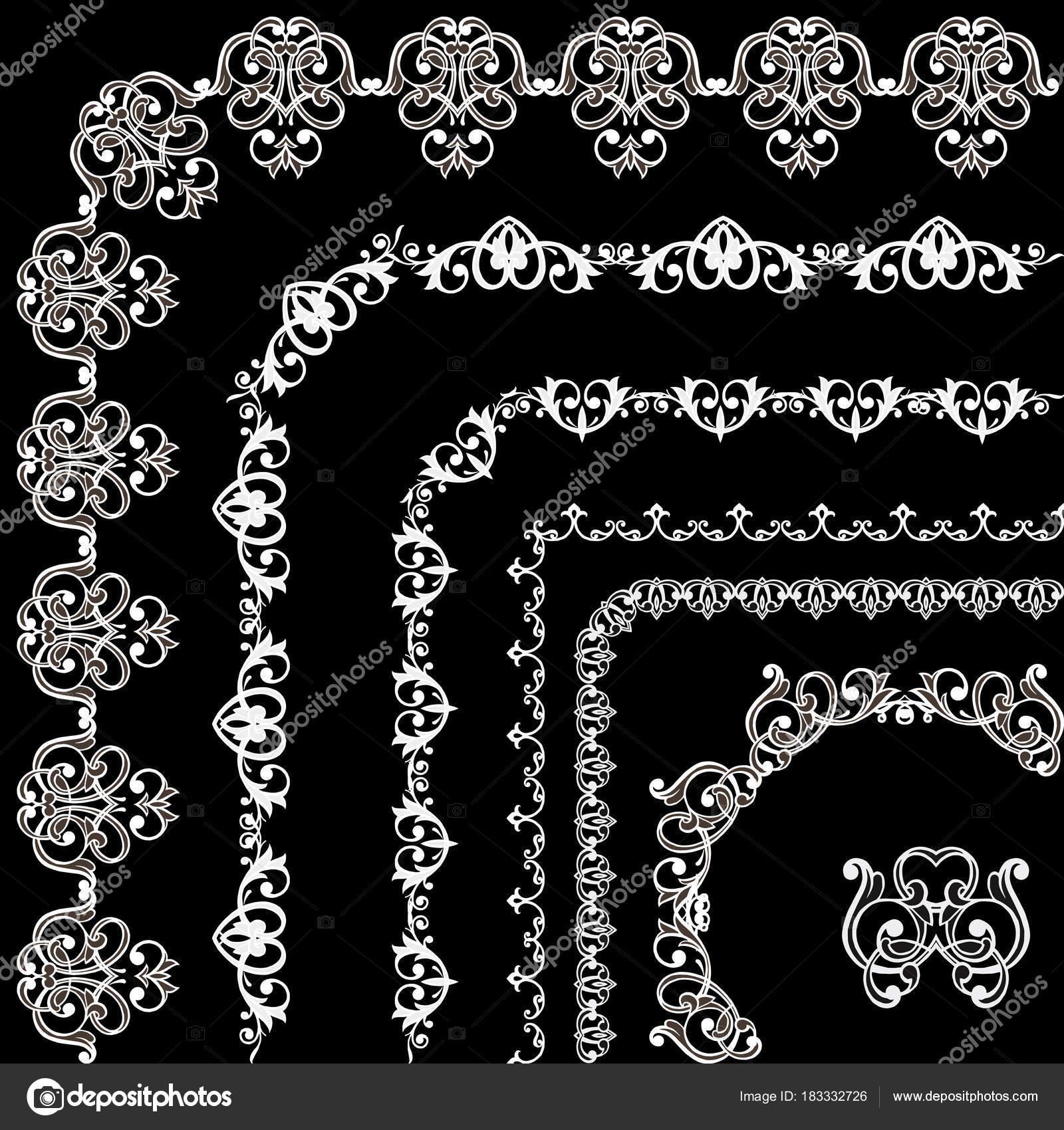 Sammlung von Vintage-Rahmen und weißem Rand auf schwarz. Satz von ...