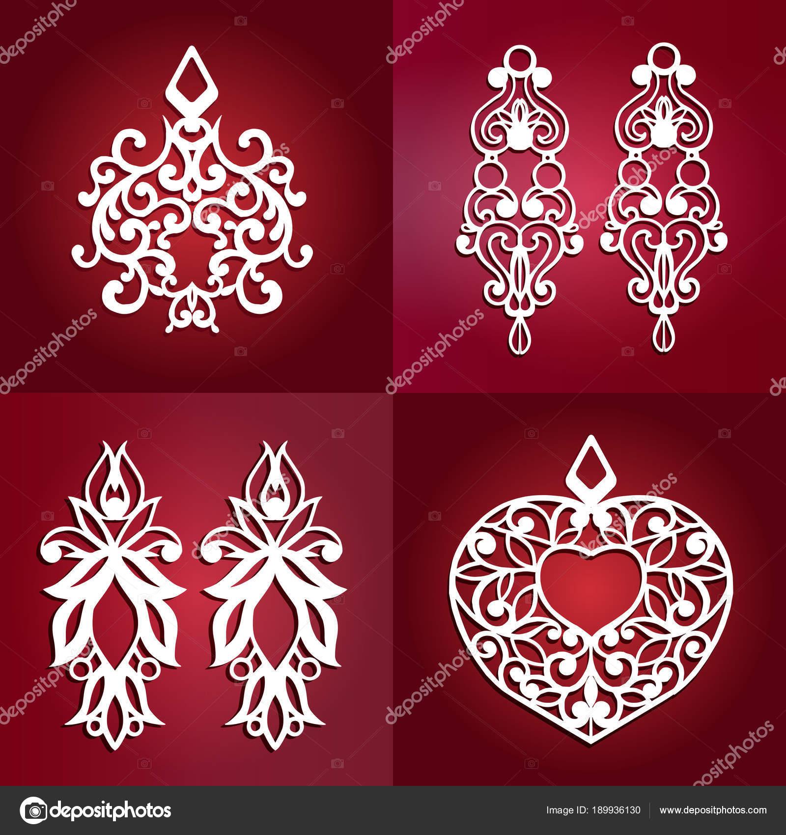 set of vector jewelry laser cut ornamental pendant template