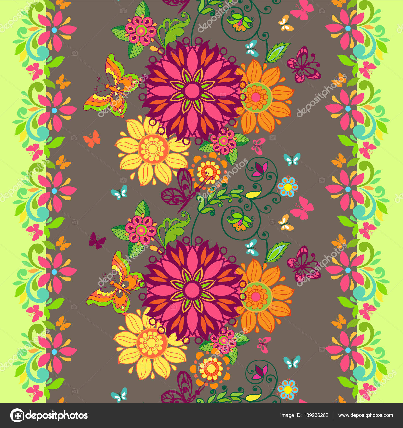 Colorful Floral Seamless Pattern With Butterflies And With A