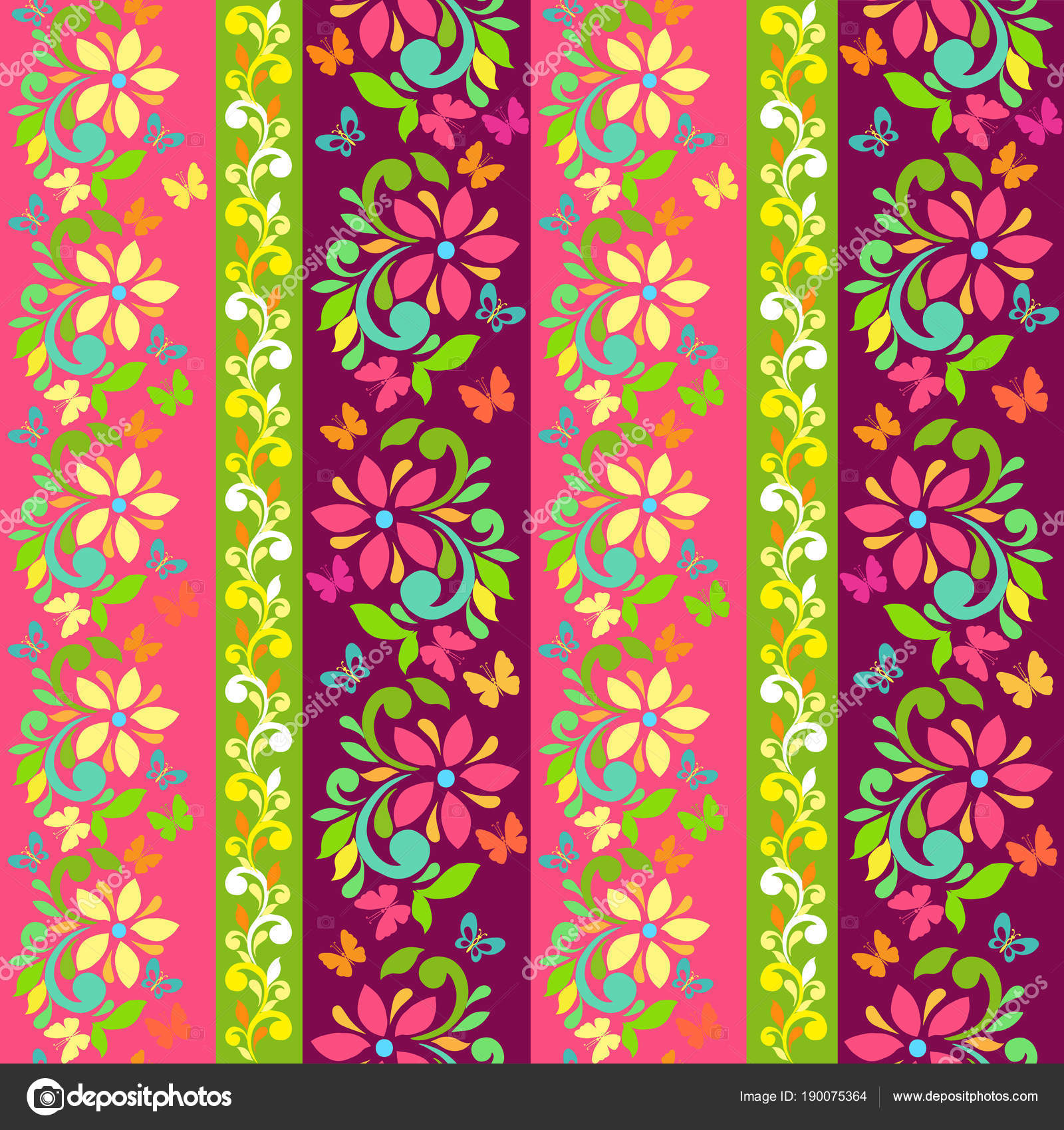 Set Of Vector Colorful Borders With Flowers And Butterflies Floral