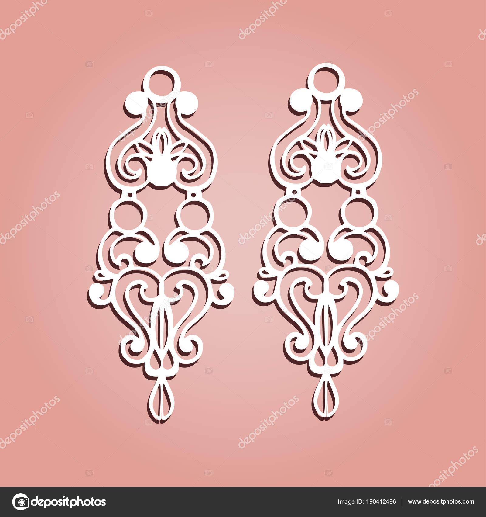 set vector jewelry laser cut ornamental pendant template stock