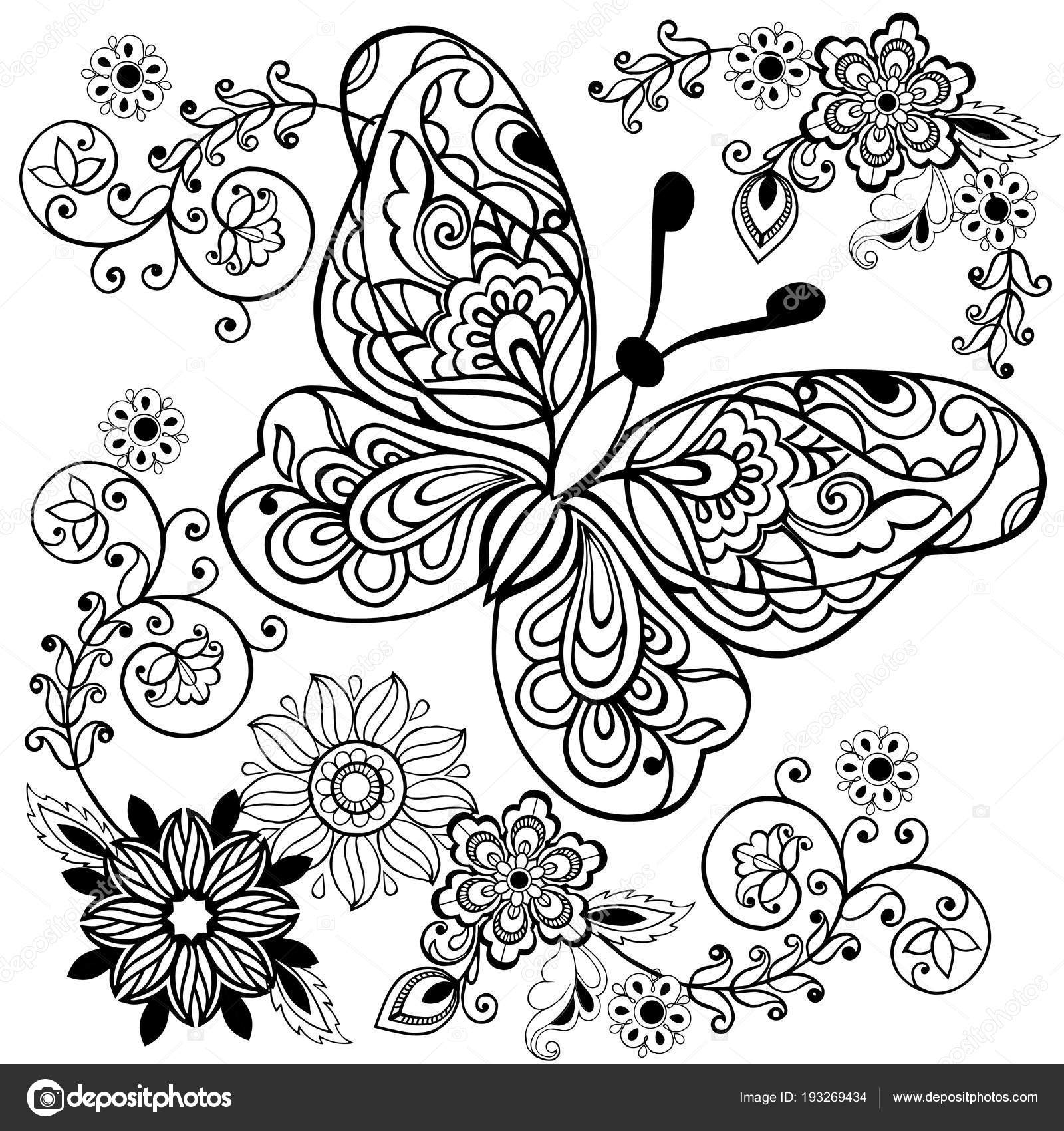 Kleurplaten Bloemen Met Vlinders.Hand Getekend Bloemen En Vlinders Voor De Anti Stress