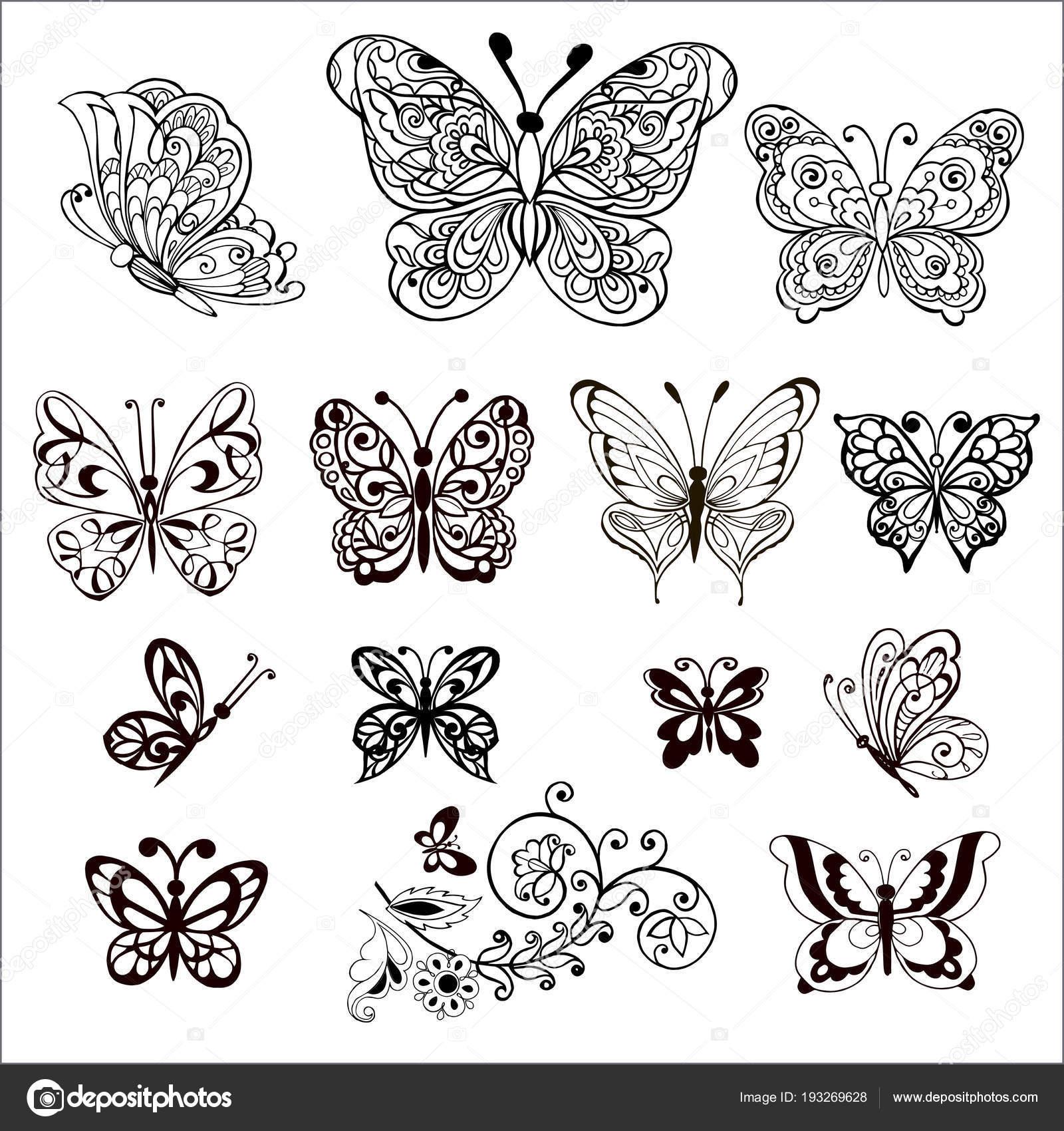 Mano Dibuja Flores Y Mariposas Para El Anti Estrés Página Para