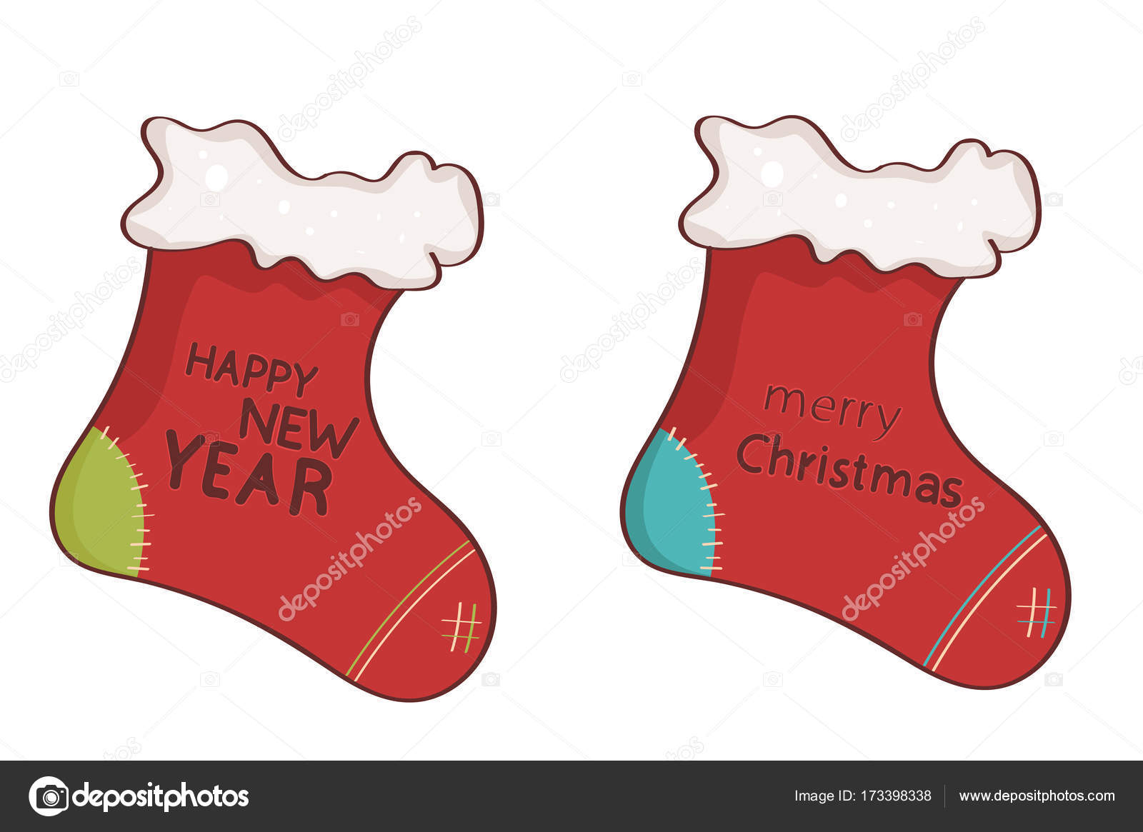 936f66270bd8 New year's socks. merry Christmas and a happy new year. — Vector by Doonkan