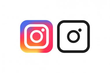 instagram logo. color, black and white