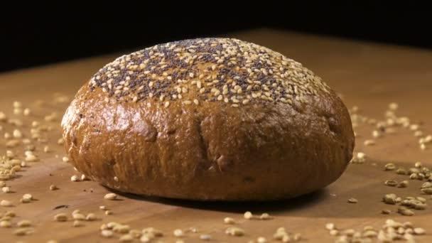 Dark bread turns on the table