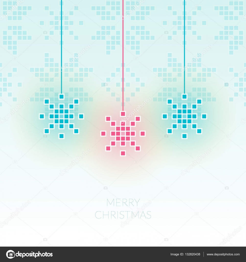 Pixel Snowflake Simple Christmas Greeting Card Can Be Used As I