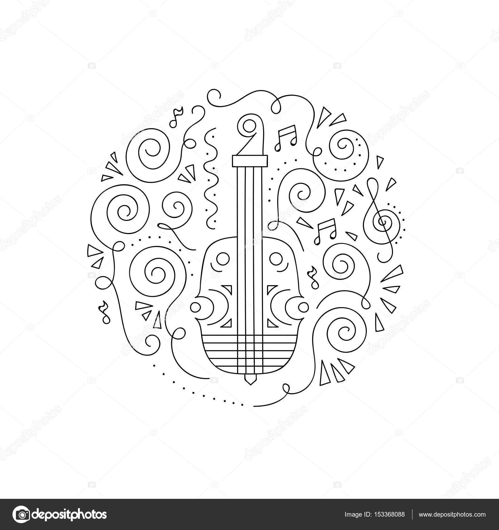 Keman Sayfa Boyama Doodle Stok Vektör Yorri 153368088