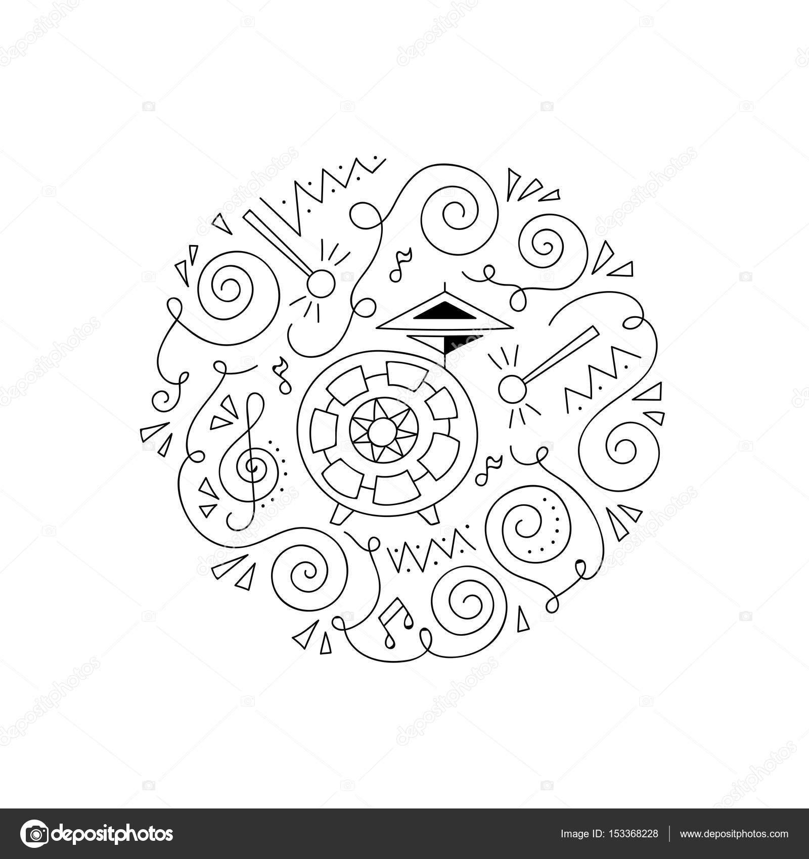 Doodle Drum Kleurtje Pagina Stockvector C Yorri 153368228