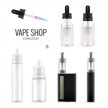 Set of realistic vape bottles and e-cigarette.