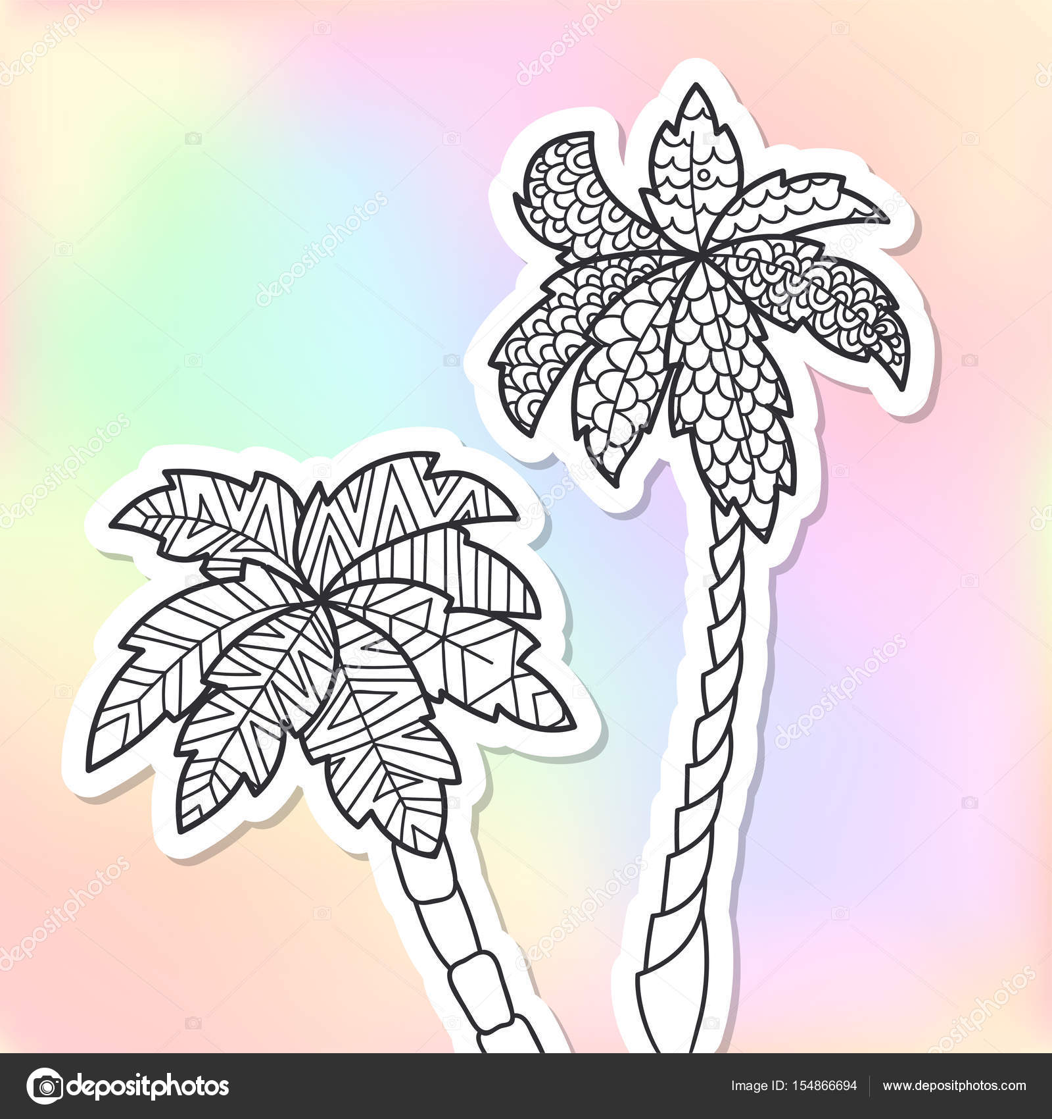 Adulto para colorear palmeras doodle — Archivo Imágenes Vectoriales ...