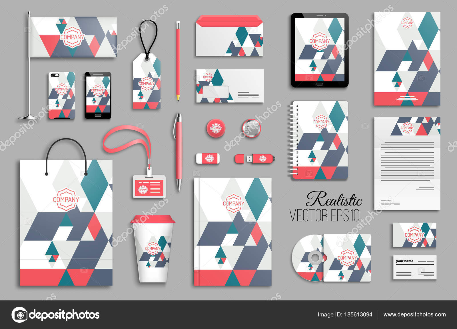 corporate identity template set business stationery mock logo