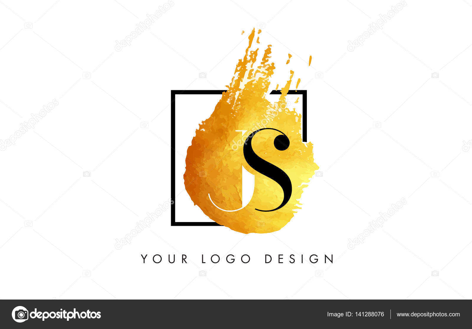 JS Gold Buchstaben Logo Textur Pinselstrichen gemalt — Stockvektor ...
