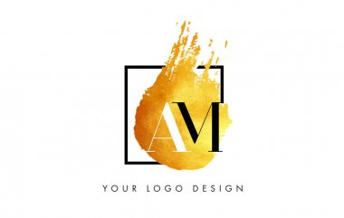 AM Gold Letter Logo Painted Brush Texture Strokes.