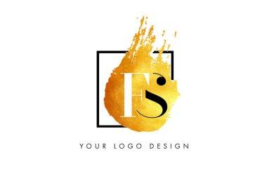 FS Gold Letter Logo Painted Brush Texture Strokes.
