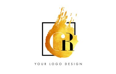 CR Gold Letter Logo Painted Brush Texture Strokes.