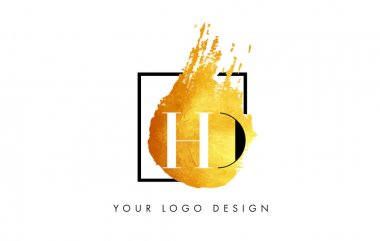 HD Gold Letter Logo Painted Brush Texture Strokes.