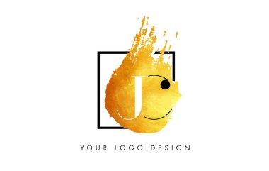 JC Gold Letter Logo Painted Brush Texture Strokes.