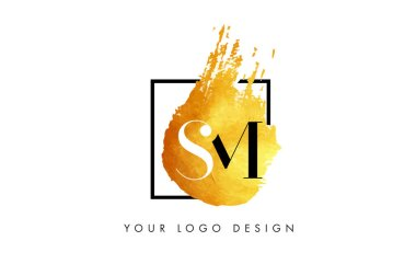 SM Gold Letter Logo Painted Brush Texture Strokes.